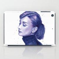 Audrey Hepburn Watercolor Portrait iPad Case