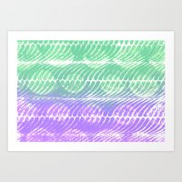 Mint And Lilac Waves Art Print