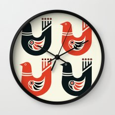Folk Art Birds: Black and Red Wall Clock