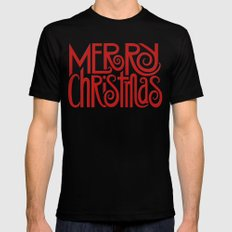 Merry Christmas Text red Mens Fitted Tee Black SMALL