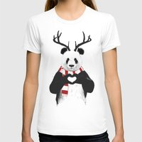 Xmas Panda Womens Fitted Tee White SMALL