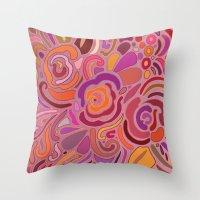 Rose Fragments, Pink, Pu… Throw Pillow