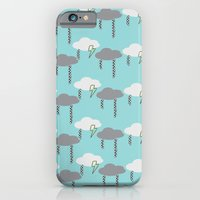 iPhone & iPod Case featuring Happy Rain and Lightning - Comic Book Pencil Drawing - Blue, White, Grey, Yellow by Corrie Jacobs