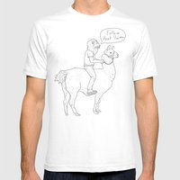 Follow That Llama ! Mens Fitted Tee White SMALL