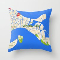 Venice Italy Map Design … Throw Pillow