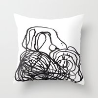 Paint 2 abstract black and white minimal brushstroke japanese modern home decor dorm college  Throw Pillow