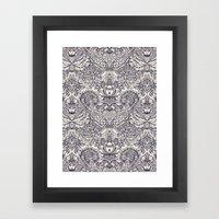 Natural Rhythm 2 - a hand drawn pattern in charcoal & cream Framed Art Print