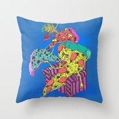 Pizza Eating Pizza - Blue Edition Throw Pillow