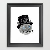 Meowstache & Top Hat Framed Art Print