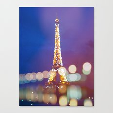 Eiffel tower by night Canvas Print