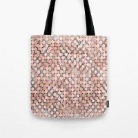 Hexagonal peach color background Tote Bag