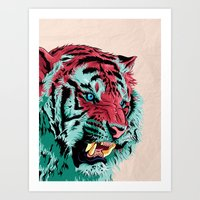 tiger Art Prints featuring Tiger by Roland Banrevi