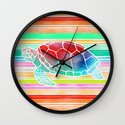 Turtle Collage by Garima and Jacqueline Wall Clock