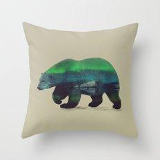 Polar Bear in Northern Lights Throw Pillow