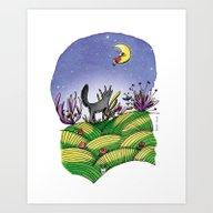 Art Print featuring Le Loup Et La Lune by Lorène Russo Illust…
