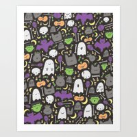 Kawaii Halloween - Black Art Print