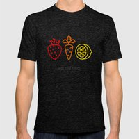 Eat Real Food. (dark) Mens Fitted Tee Tri-Black SMALL