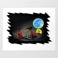 Watching the Moon Art Print