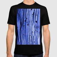blue wood Mens Fitted Tee Black SMALL