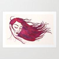 Red Woman Art Print