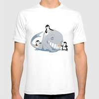 Penguins And A Whale Mens Fitted Tee White SMALL