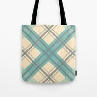 Teal Pastel Plaid Tote Bag