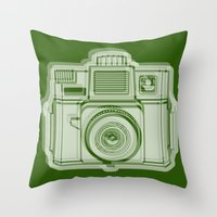 I Still Shoot Film Holga Logo - Reversed Green Throw Pillow