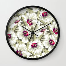 New Zealand Hibiscus Floral Print (Day) Wall Clock
