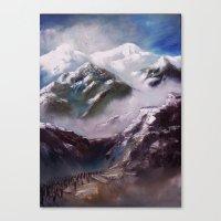 Alpen und Flüchtlinge Canvas Print