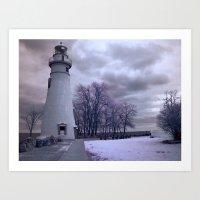 Infrared Lighthouse Art Print