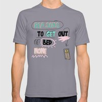 Reasons to get Out of BED (NONE) Mens Fitted Tee Slate SMALL