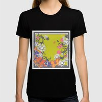 Flutterbies Womens Fitted Tee Black SMALL