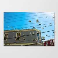 Doves And Wire#3 Canvas Print