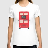 Red Double Decker Bus  Womens Fitted Tee White SMALL