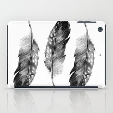 Three Feathers Black And White iPad Case
