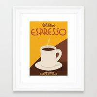 Caffè D'Italia - Milano Espresso - Retro Coffee Poster Framed Art Print