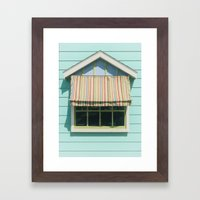 Summer cottage stripped canvas awning Framed Art Print