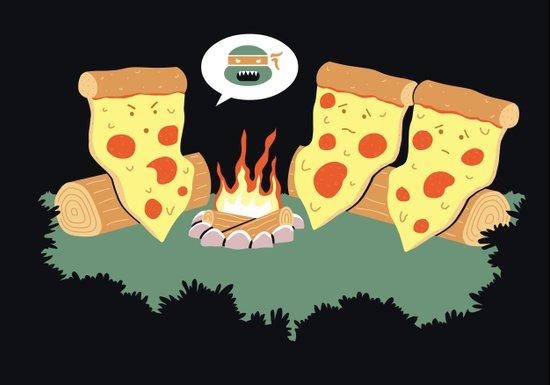 Campfire Tales Of A Pepperoni Pizza Art Print