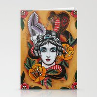 Woman With Snake Stationery Cards
