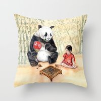 Playing Go With Panda Throw Pillow