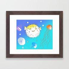Little Fugu (Blue) Framed Art Print