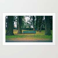Art Print featuring Simple park bench by Vorona Photography