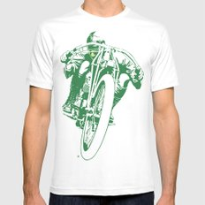 Motorcycle Board Track Racer 2 Mens Fitted Tee White SMALL