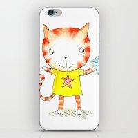 Ginger kitten watercolour iPhone & iPod Skin