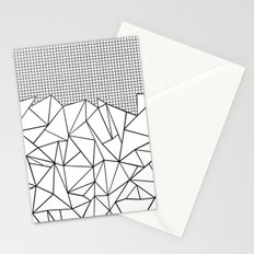 Abstract Outline Grid Black on White Stationery Cards