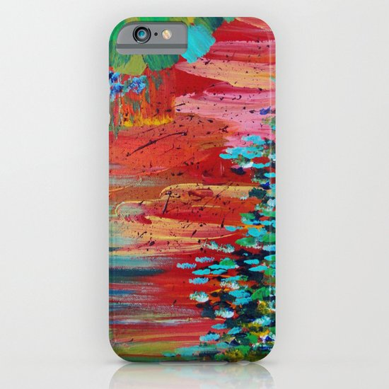 REVISIONED RETRO - Bright Bold Red Abstract Acrylic Colorful Painting 70s Vintage Style Hip 2012 iPhone & iPod Case