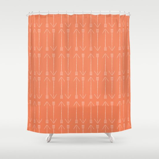 Orange Arrows Shower Curtain by Allyson Johnson | Society6