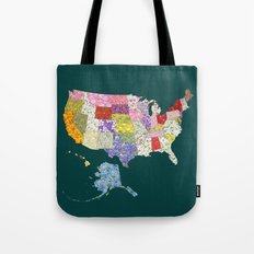 United States in Flowers Tote Bag