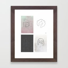One line Starwars Poster Framed Art Print
