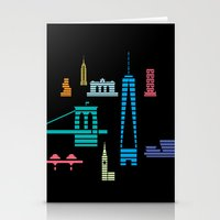 New York Skyline One WTC Poster Black Stationery Cards